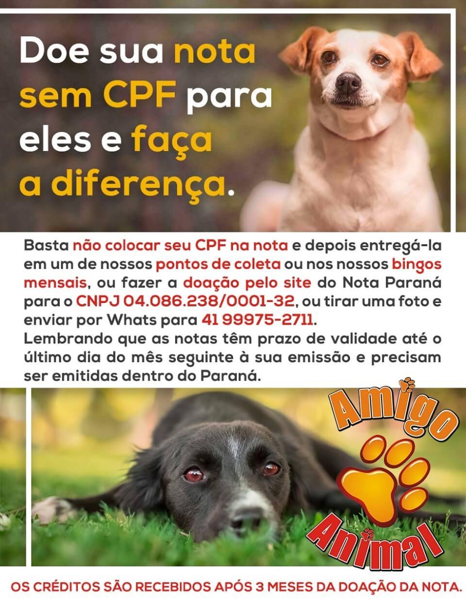É bem fácil ajudar! Clique na imagem e confira todos os detalhes! A Amigo Animal é uma associação sem fins lucrativos que abriga mais de 1000 cachorros resgatados em Curitiba e região.